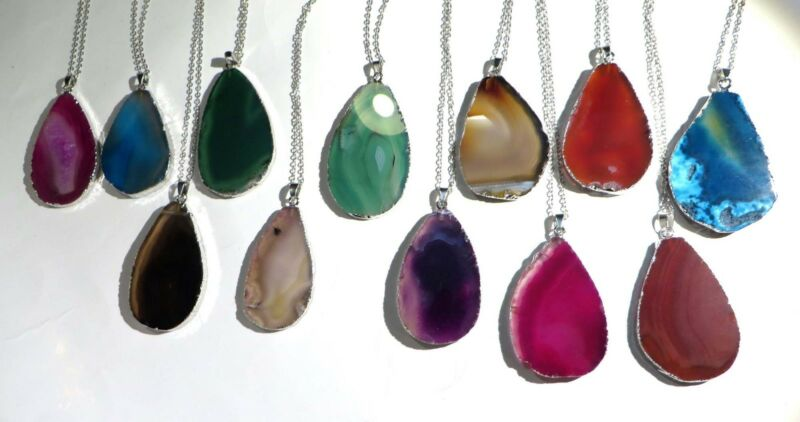wholesale lot of 10 natural agate gemstone slice pendant necklaces