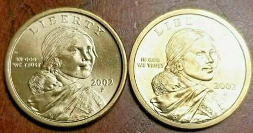 2002 P & D $1 Sacagawea Dollar {{{Two Brilliant Uncirculated Coins}}}