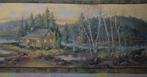 Wallpaper Border Dado Canadian Woods Lake Cabin & Moose theme Wall Decor Green