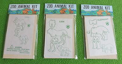 3D Puzzles 3 Stück ! Zoo Tiere aus Holz * Holzbausatz Bastel-Set Steckbausatz
