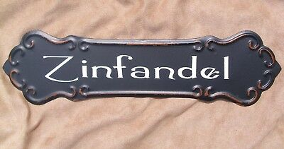 Restaurant Decor -  ZINFANDEL WINE SIGN Metal Vintage Style Cellar Bar Pub Kitchen Restaurant Decor