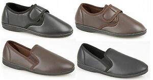 Mens-Dark-Brown-Black-Leather-Look-Full-Slippers-Casual-Slip-on-Velcro-Wide-FIT