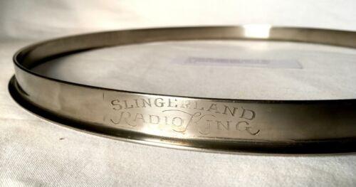 """SLINGERLAND RADIO KING 13"""" TOM HOOP NICKEL NOB 1930s 1940s 1950s ENGRAVED 2of2"""
