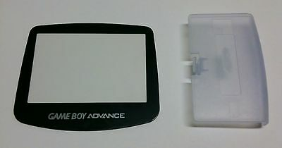 Game boy Advance Glacier Clear Blue Battery Cover lid + Replacement Screen Lens