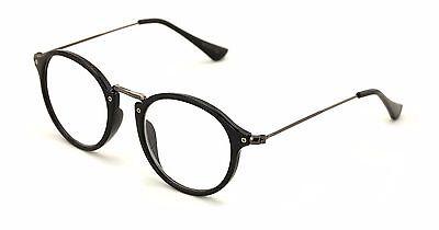 Fashion Round Oval Circle Reading Glasses Slim Metal Temple Reader Clear Black (Black Circle Glasses)