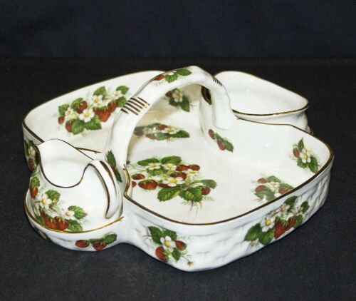 Vintage 3-Piece Hammersley Strawberry Ripe Berry Basket