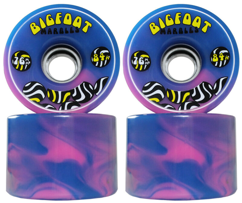 Bigfoot Longboard Wheels - 76mm Marble Swirl - Blue/Pink