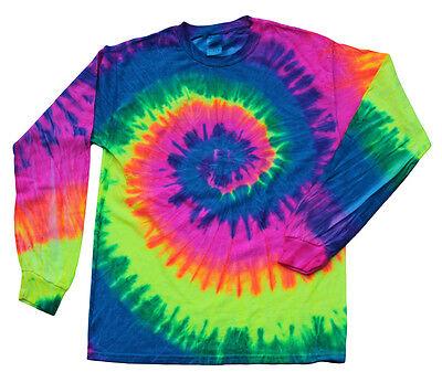 Neon Multi-Color Long Sleeve Tie Dye T-Shirt Adult S M L XL 2XL XXXL 100% Cotton