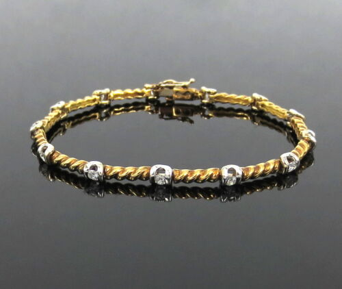 Rare Gerard 0.90ct Diamond Twisted 18k White & Yellow Gold Rope Design Bracelet