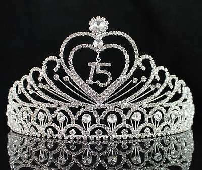 Birthday Tiaras (QUINCEANERA 15 FIFTEEN BIRTHDAY RHIESTONE TIARA CROWN WITH HAIR COMBS)