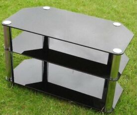 Smoked glass hi fi TV stand