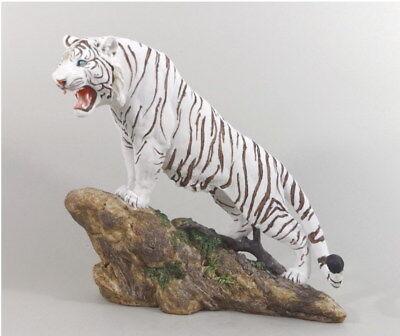 Tiger Katze Tigerfigur weiß Skulptur Deko Tier Figur Statue abstrakt Felsen Löwe