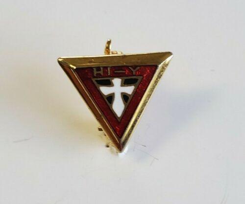 Vintage YMCA Jr TRI HI Y Official Triangular brooch Pin Club Fraternity (J724)