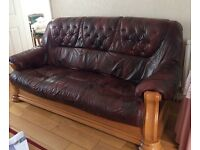 3 piece burgundy leather and solid wood suite