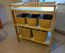Baby changing table with 5 storage baskets