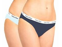 Calvin Klein Women's Underwear CK Carousel 2-Pack Bikini Briefs Low Rise Panties (SMALL-UK SIZE 8-10