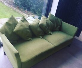 Large green 3 seater sofa