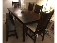 LomBok Dining Table, Four Chairs & Bench