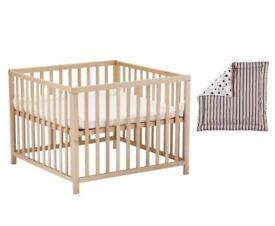 Babydan natural wooden play pen and cushion