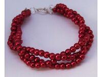 "Firebrick Red Platted Bracelet 19.5cm 7.8"" Long"