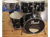 PEARL 5 Piece Drum Kit Shell Pack '80s Vintage FORUM Bass Drum Snare Drum & 3 Toms REMO Heads BLACK