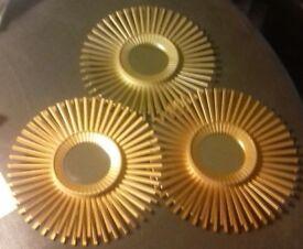 Set of 3 wall hung gold mirrors