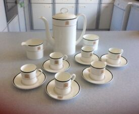 WEDGWOOD HOUSES OF COMMON PORTCULLIS BONE CHINA COMPLETE COFFEE SET.