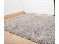 Grey beige soft shaggy rug