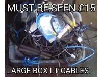 Huge box of I.T cables, router, power pack, laptop battery, SSD Drives plus so much more