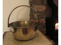 Small Vintage Heavy Brass Swing Handle Jelly Pan in good condition