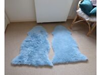 PAIR OF BEAUTIFUL FAUX SHEEPSKIN RUGS IN RICH TEAL