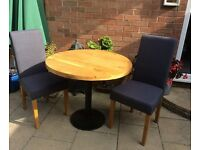 Reclaimed Timber, Small Oak Dining Table And Chairs, Unused !