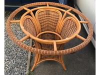 Wicker/Cane/Rattan Conservatory Dining table and four chairs