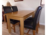 Oak Dining Table, 4 Chairs & Sideboard