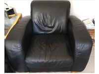 Black 3 seater leather sofa and chair
