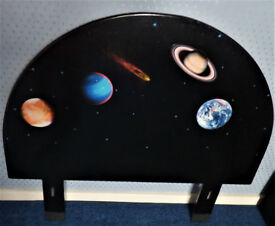 Single Headboard, Planets Decoupage and Paint Effect, Excellent Condition