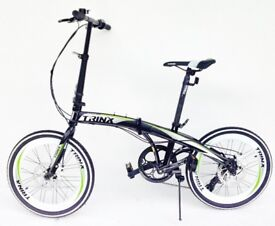 Folding bike 20 inch wheels 7 speed shimano gears disc brakes carry bag Trinx BRAND NEW