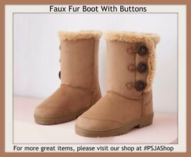 Faux Fur Boot With Buttons