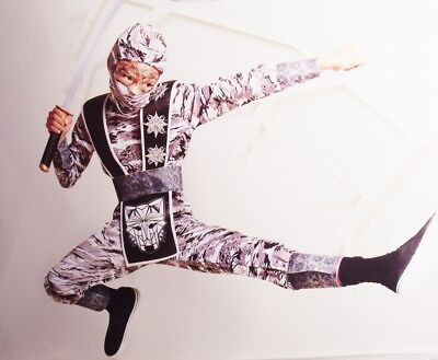 Boys Winter WOLF NINJA Halloween Costume White Camoflague Camo Outfit S 4 6 NEW