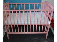CAN SEND PARCELFORCE NEXTDAY Pink Space Saver Small Mini Compact Baby Cot and Mattress 100cm x 50cm