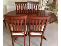 Morris furniture - large extending table and 6 chairs (2 carver chairs)