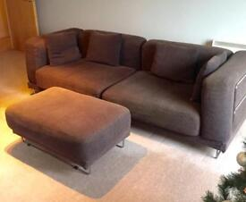 Large modern 3 seater sofa and foot stall