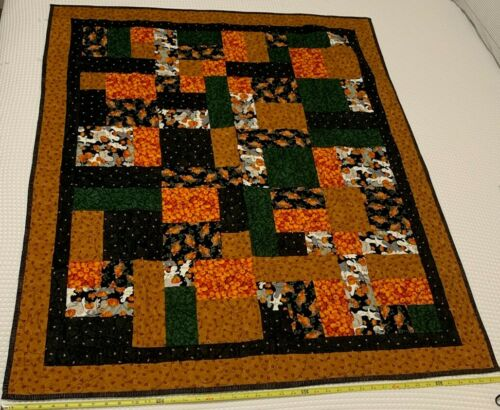 """Handcrafted Embroidered Quilt Aprox 52""""x42"""" Halloween Quilt"""