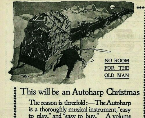 1895 Christmas Santa Claus Sleigh Reindeer AUTOHARP Harp ORIGINAL Print Ad 4680