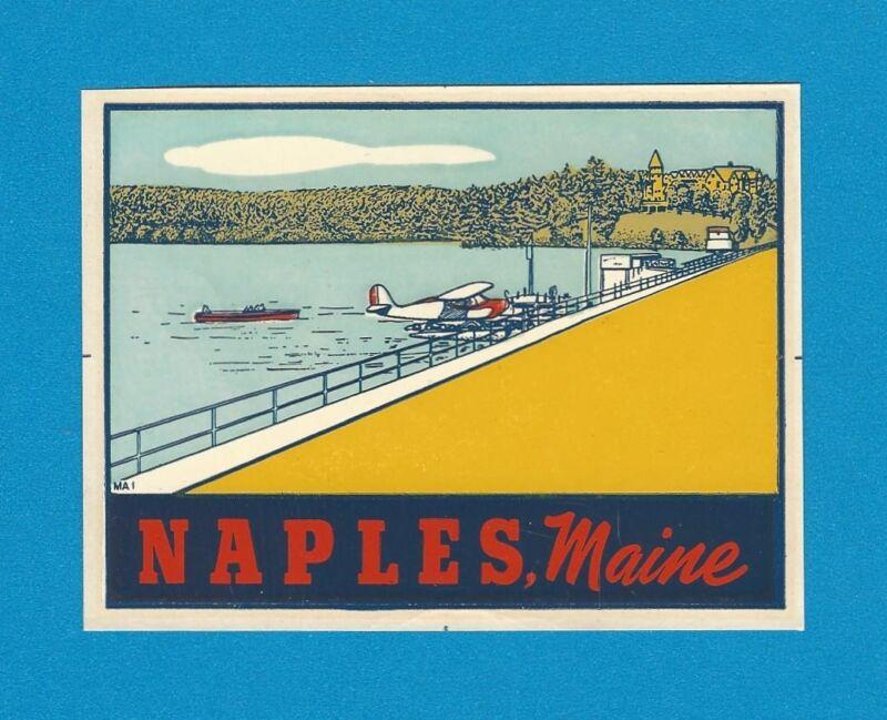 "VINTAGE ORIGINAL 1946 PONTOON SEAPLANE ""NAPLES"" MAINE TRAVEL WATER DECAL ART"