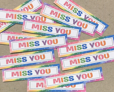 12 MISS YOU Sentiments/Banners Hand Made Card Toppers NEW RAINBOW COLOURS