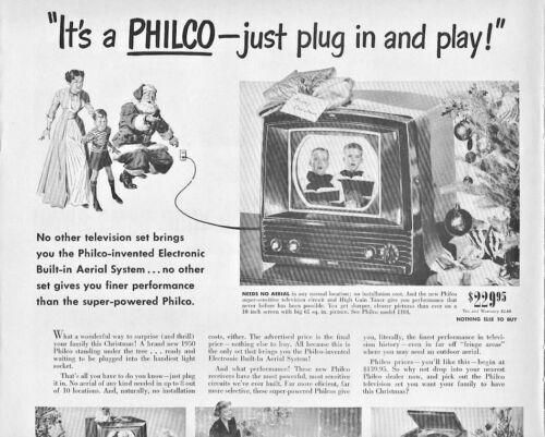 1949 Philco Television Vintage Print Ad Christmas Just Plug And Play