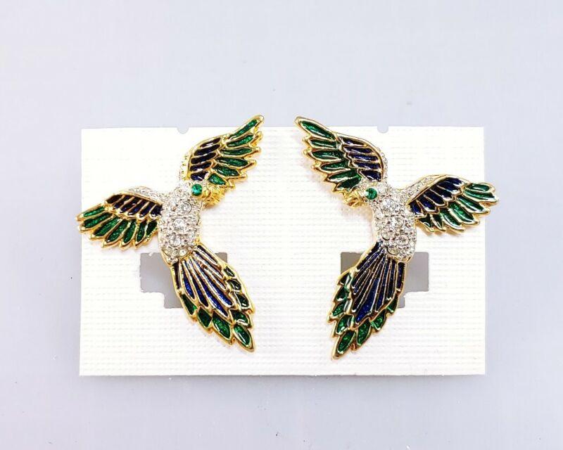 (W) Vintage Parrot Bird Flying Gold Colorful Enamel Rhinestone Belly Earrings