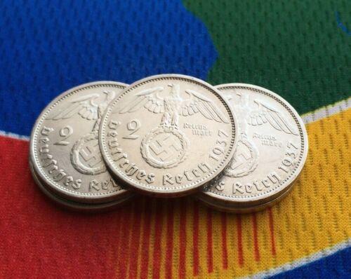 1937 A 2 mark German WWII Silver Coin (1) Third Reich Reichsmark 5*