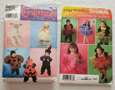 2 Toddler Costume Patterns Simplicity 2794 & 4453 Bee Bunny Bug Fairy Sz1/2-4